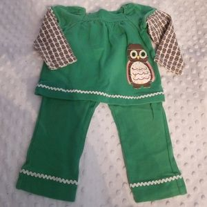Girls 12 month owl outfit pants shirt set kid crew